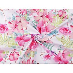 Bumbac imprimat, motiv flori roz, la metru - alb