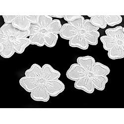 Aplicație termoadezivă brodată, floare (pachet 10 buc.) - alb