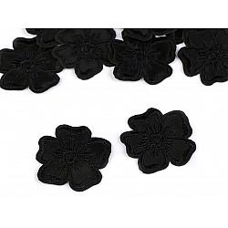 Aplicație termoadezivă brodată, floare (pachet 10 buc.) - negru