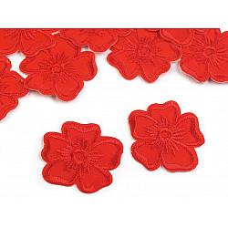 Aplicație termoadezivă brodată, floare (pachet 10 buc.) - roșu