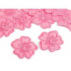 Aplicație termoadezivă brodată, floare (pachet 10 buc.) - roz