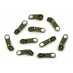 Cursor fermoar spiralat, 3 mm (pachet 10 buc.) - Verde kaki