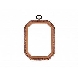 Gherghef / Ramă dreptunghiular 11 x 14,5 cm, pentru broderie - maro deschis
