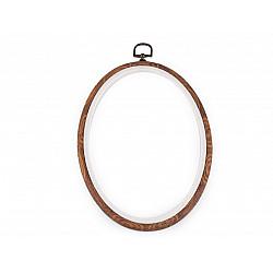 Gherghef / Ramă oval, pentru broderie, 16,5x23 cm - maro
