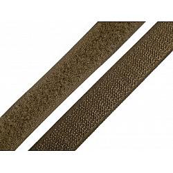 Bandă arici, complet (puf + scai), 20 mm, verde kaki - la rola