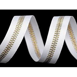 Bandă decorativă imitație fermoar, 20 mm x 1 m - alb - auriu