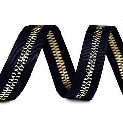 Bandă decorativă imitație fermoar, 20 mm x 1 m - bleumarin - auriu