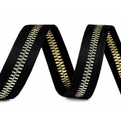 Bandă decorativă imitație fermoar, 20 mm x 1 m - negru - auriu