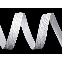 Bandă din bumbac Herringbone, lățime 10 mm (rola 50 m) - alb