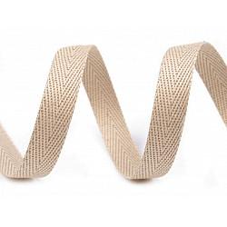 Bandă din bumbac Herringbone, lățime 10 mm (rola 50 m) - bej