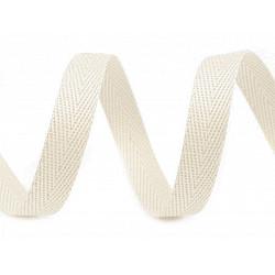 Bandă din bumbac Herringbone, lățime 10 mm (rola 50 m) - ecru deschis