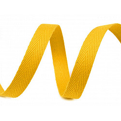 Bandă din bumbac Herringbone, lățime 10 mm (rola 50 m) - galben untos