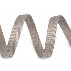 Bandă din bumbac Herringbone, lățime 10 mm (rola 50 m) - gri deschis