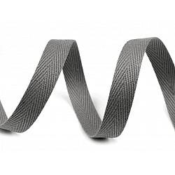 Bandă din bumbac Herringbone, lățime 10 mm (rola 50 m) - gri neutral