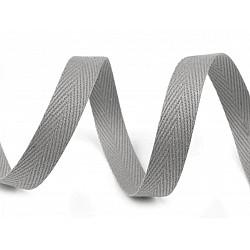 Bandă din bumbac Herringbone, lățime 10 mm (rola 50 m) - gri paloma