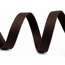 Bandă din bumbac Herringbone, lățime 10 mm (rola 50 m) - maro ciocolatiu