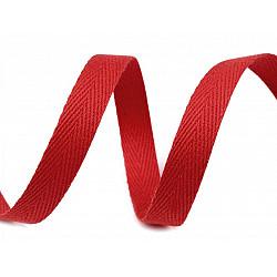 Bandă din bumbac Herringbone, lățime 10 mm (rola 50 m) - roșu