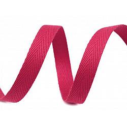 Bandă din bumbac Herringbone, lățime 10 mm (rola 50 m) - roz zmeură