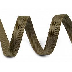 Bandă din bumbac Herringbone, lățime 10 mm (rola 50 m) - verde oliv