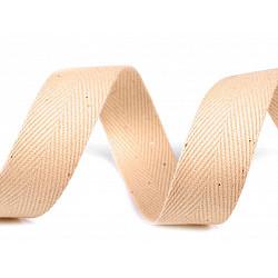 Bandă din bumbac Herringbone, lățime 20 mm (rola 50 m) - bej