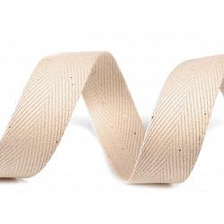 Bandă din bumbac Herringbone, lățime 20 mm (rola 50 m) - bej deschis