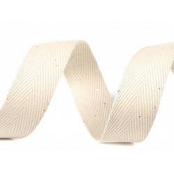 Bandă din bumbac Herringbone, lățime 20 mm (rola 50 m) - ecru deschis