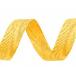 Bandă din bumbac Herringbone, lățime 20 mm (rola 50 m) - galben untos
