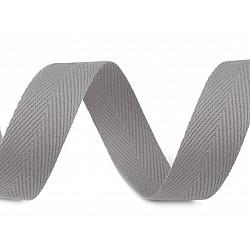 Bandă din bumbac Herringbone, lățime 20 mm (rola 50 m) - gri paloma
