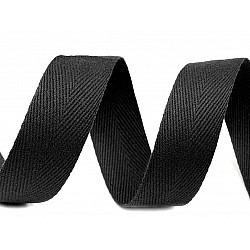 Bandă din bumbac Herringbone, lățime 20 mm (rola 50 m) - negru