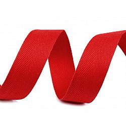 Bandă din bumbac Herringbone, lățime 20 mm (rola 50 m) - roșu