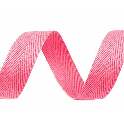 Bandă din bumbac Herringbone, lățime 20 mm (rola 50 m) - roz deschis