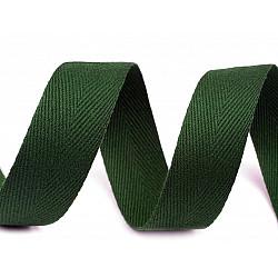 Bandă din bumbac Herringbone, lățime 20 mm (rola 50 m) - verde brad