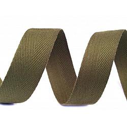 Bandă din bumbac Herringbone, lățime 20 mm (rola 50 m) - verde oliv