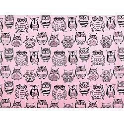Bumbac imprimat, motiv bufnite, la metru - roz deschis