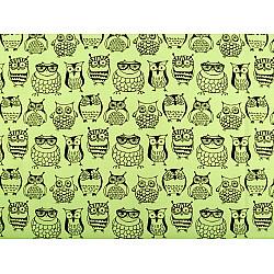Bumbac imprimat, motiv bufnite, la metru - verde deschis