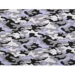 Bumbac imprimat, motiv camuflaj, la metru - gri albăstrui deschis