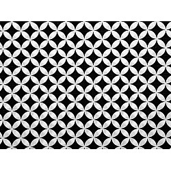 Bumbac imprimat, motiv cercuri, la metru - negru