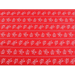 Bumbac imprimat, motiv floral, la metru - roșu - alb