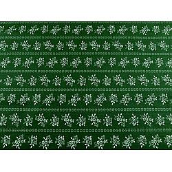Bumbac imprimat, motiv floral, la metru - verde închis - alb