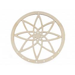 Cerc din lemn pentru prinzător de vise Mandala, Ø25 cm - natur deschis