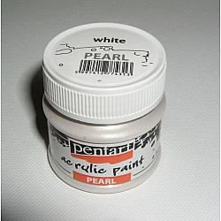 Culoare acrilica sidefata - 50 ml - Alb/Perla