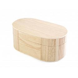 Cutie ovala din lemn - 8.5 x 15 x 6.5 cm