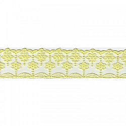 Dantela brodata, fina - 6.7 cm, Galben