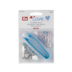 Capse Jersey, Prym Love, 8mm - roz, albastru deschis, perla