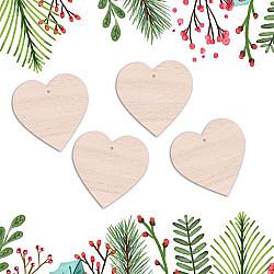Globulete lemn - Inimi - 12 cm, 4 buc.