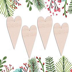 Globulete lemn - Inimi vintage - 15 cm, 4 buc.