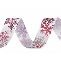 Panglică cu fulgi de zăpadă, lățime 25 mm (rola 20 m) - roșu