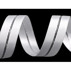 Panglică decorativă cu lurex, față dublă, lățime 25 mm (rola 20 m) - alb - argintiu