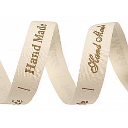 Panglică din bumbac imprimată Hand made, lățime 15 mm (rola 25 m) - ecru deschis