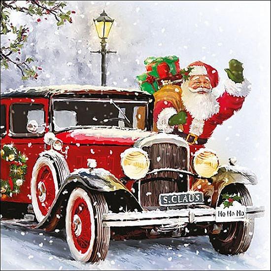 Servetele - Automobilul lui MosCraciun - 33x33cm, 4 buc